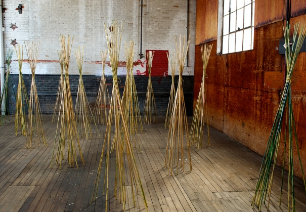Golden Fiber, installation view at the Art Factory, Patterson, NJ. Photo: David Shapiro