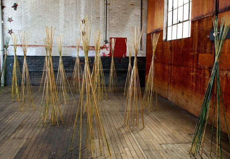 Golden Fiber, installation view at the Art Factory, Patterson, NJ. Photo: David Shapiro